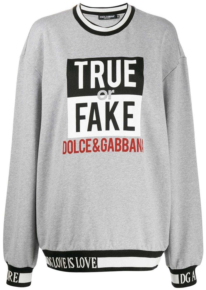 Dolce & Gabbana oversized slogan knit sweater