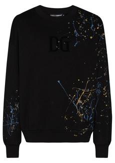 Dolce & Gabbana paint-splatter crew-neck jumper