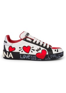 Dolce & Gabbana Painted Heart Leather Sneakers