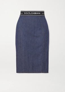 Dolce & Gabbana Paneled Denim And Stretch-jersey Skirt