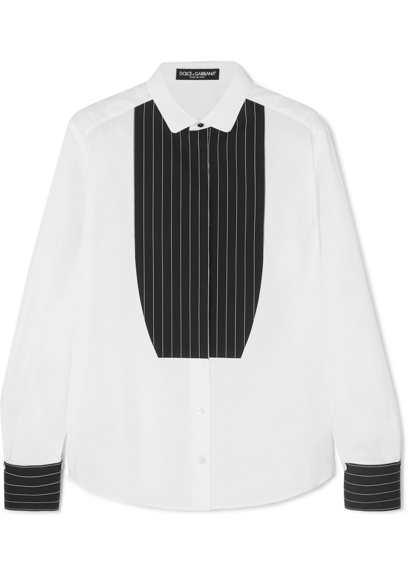 Dolce & Gabbana Paneled Pinstriped Cotton-poplin Shirt