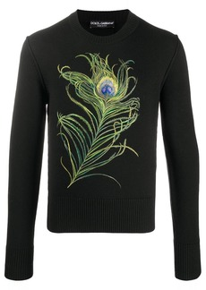 Dolce & Gabbana peacock feather embroidered sweater