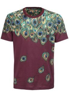 Dolce & Gabbana Peacock Feather Print Cotton T-shirt