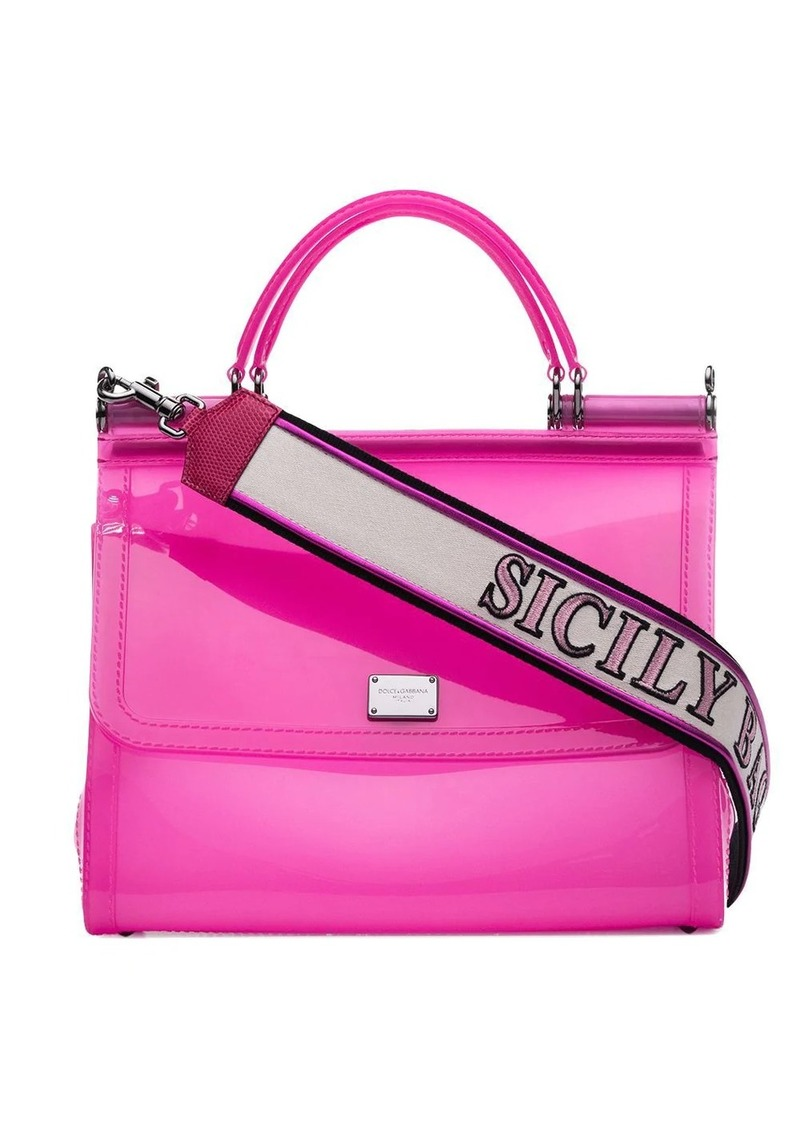 Dolce & Gabbana pink Sicily transparent PVC shoulder bag