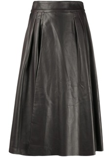 Dolce & Gabbana pleat-detail leather skirt