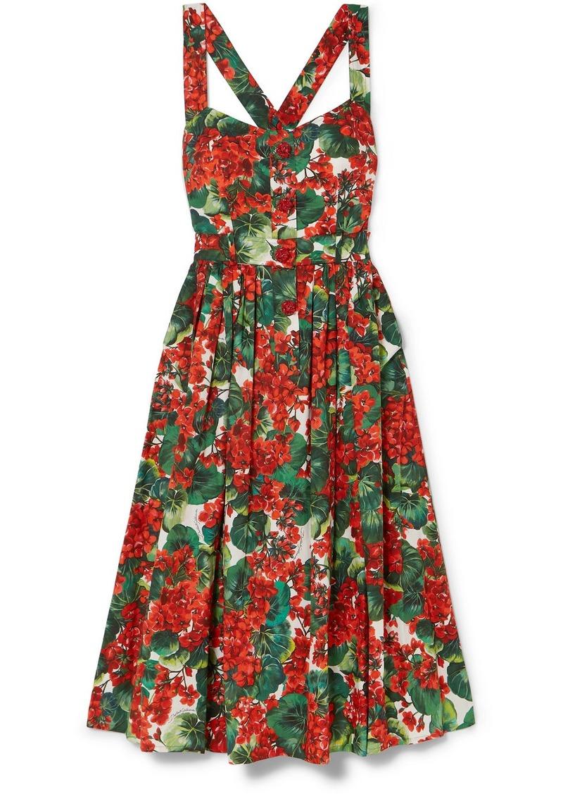 Dolce & Gabbana Pleated Floral-print Cotton-blend Poplin Midi Dress
