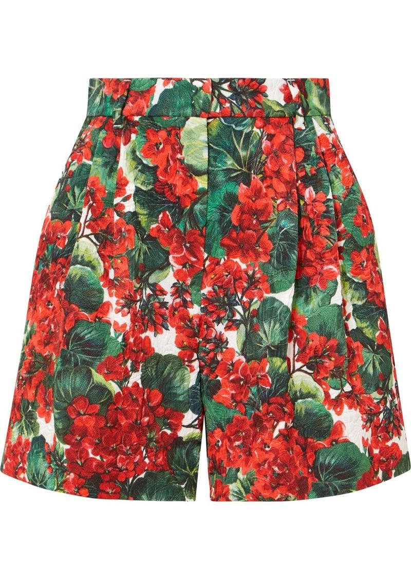 Dolce & Gabbana Pleated Floral-print Cotton-blend Poplin Shorts
