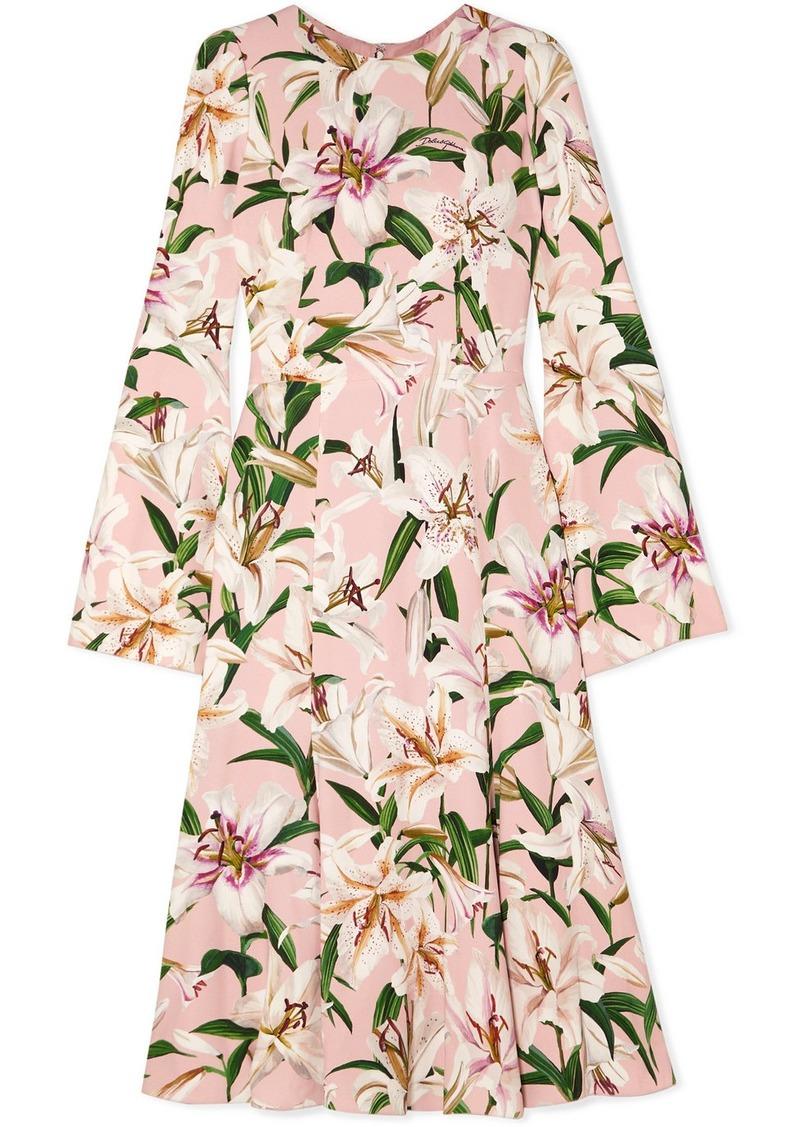 Dolce & Gabbana Pleated Floral-print Crepe De Chine Midi Dress