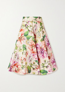 Dolce & Gabbana Pleated Floral-print Silk-faille Midi Skirt