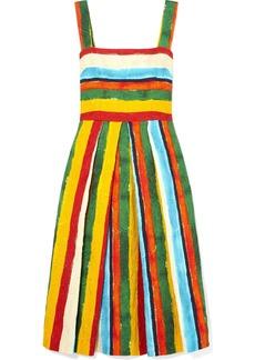 Dolce & Gabbana Pleated Striped Brocade Midi Dress