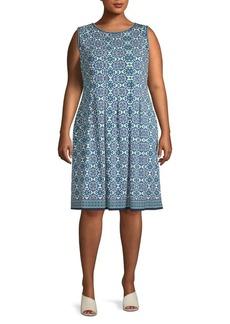 Max Studio Plus Pleated Knee-Length Dress