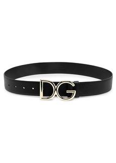 Dolce & Gabbana Polished Logo Wide Leather Belt