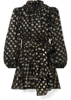 Dolce & Gabbana Polka-dot Metallic Fil Coupé Silk-blend Chiffon Mini Dress
