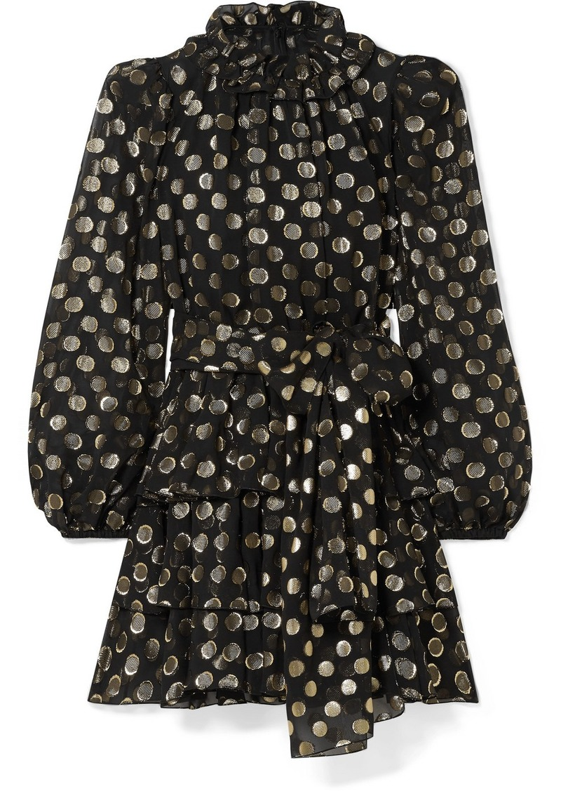 Dolce & Gabbana Polka-dot Metallic Fil Coupé Silk-blend Chiffon Mini Dress