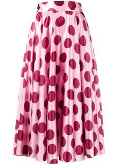 Dolce & Gabbana polka dot pleated midi skirt