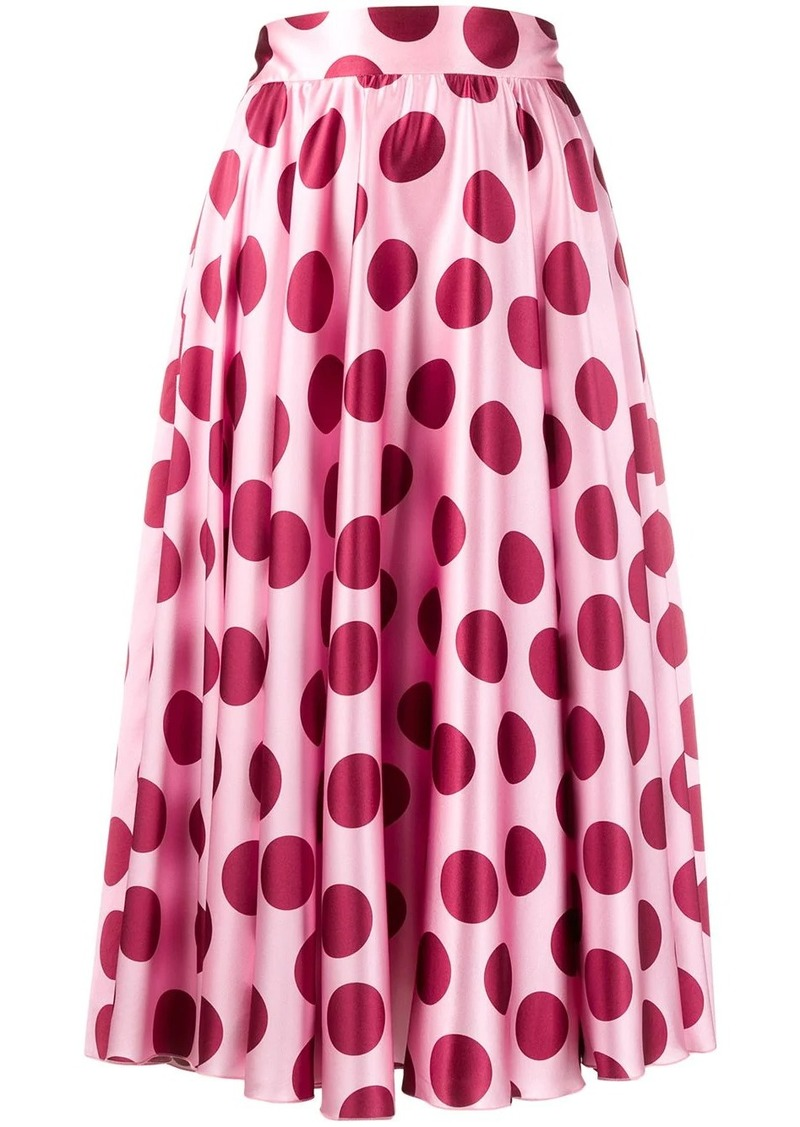 Dolce & Gabbana polka dot pleated midi skirt