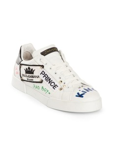 Dolce & Gabbana Prince Graffiti Leather Low-Top Sneakers