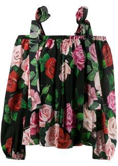 Dolce & Gabbana printed cold shoulder blouse