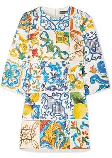 Dolce & Gabbana Printed Cotton And Silk-blend Brocade Mini Dress