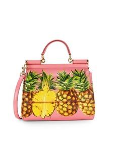 Dolce & Gabbana Pineapple Print Leather Top Handle Bag
