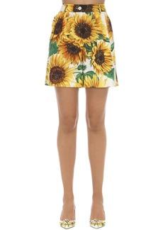Dolce & Gabbana Printed High Waist Cotton Poplin Shorts