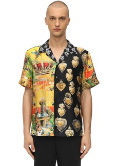 Dolce & Gabbana Printed Silk Bowling Shirt