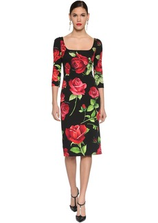 Dolce & Gabbana Printed Stretch Charmeuse Midi Dress