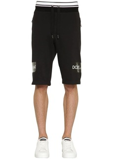 Dolce & Gabbana Printed Tape Cotton Jersey Shorts