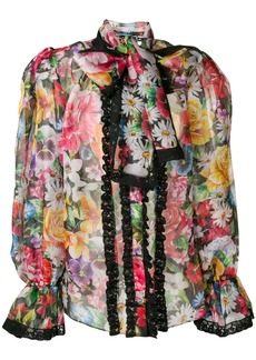 Dolce & Gabbana puff structured floral blouse