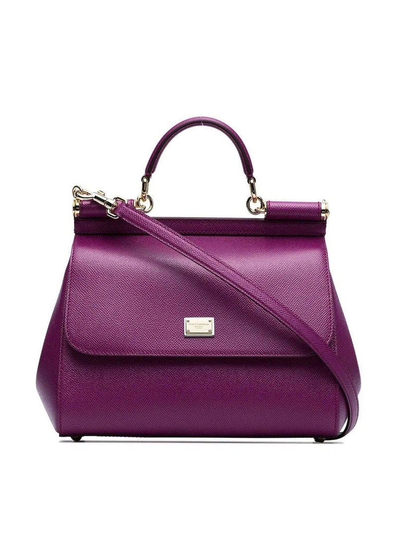Dolce & Gabbana purple sicily medium leather tote bag