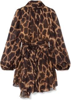 Dolce & Gabbana Pussy-bow Animal-print Silk-chiffon Mini Dress