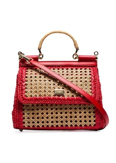 Dolce & Gabbana red Sicily raffia and leather shoulder bag