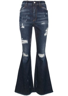 Dolce & Gabbana ripped detail bootcut jeans