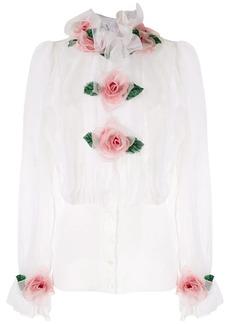 Dolce & Gabbana rose appliqué organza shirt