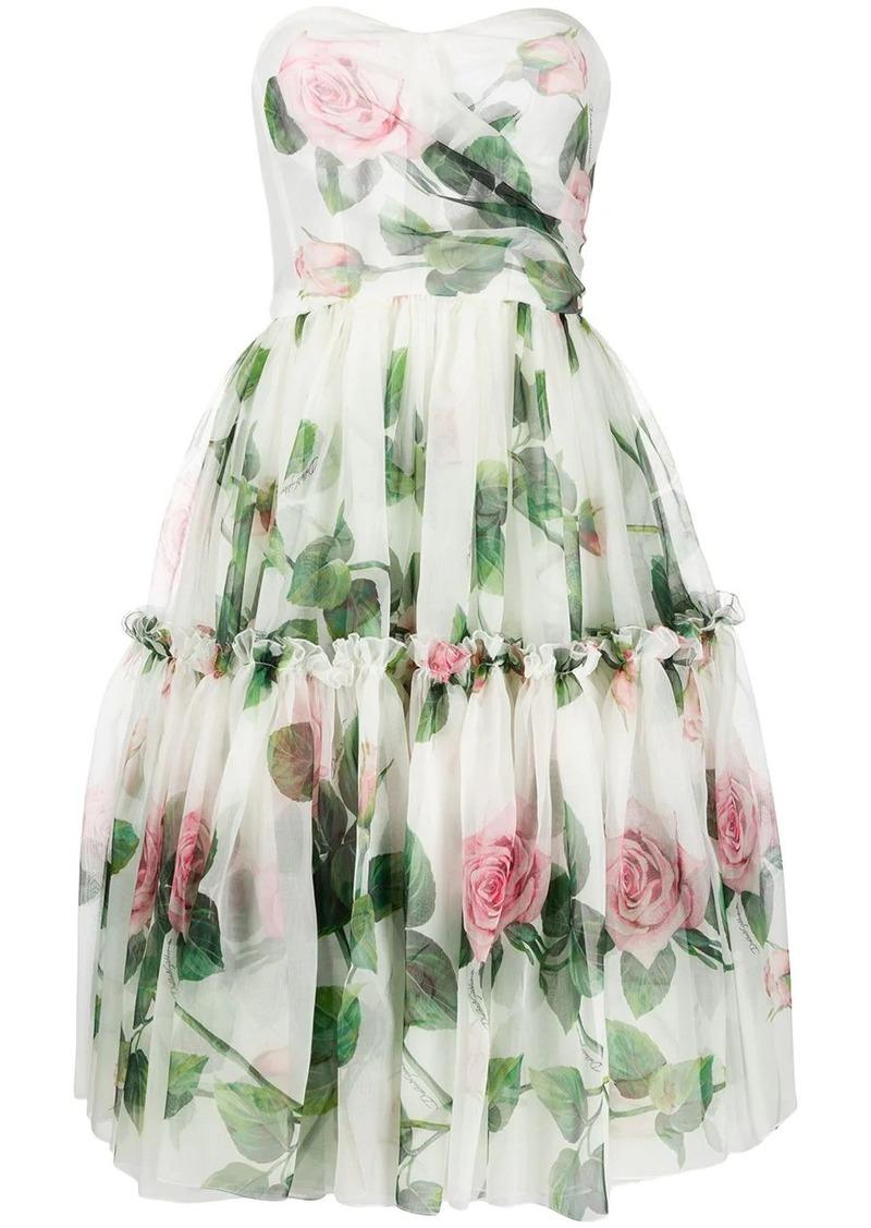 Dolce & Gabbana rose flared midi dress
