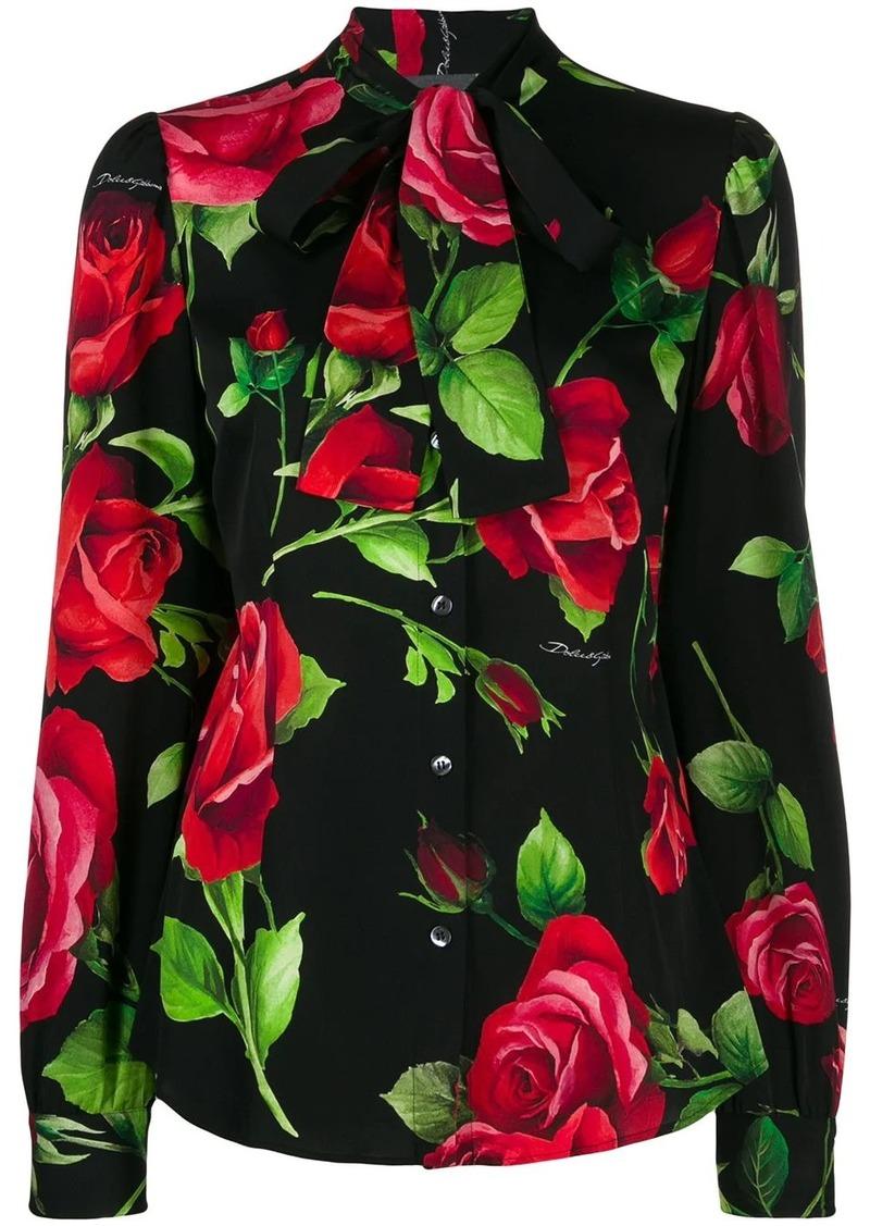 Dolce & Gabbana rose print charmeuse shirt