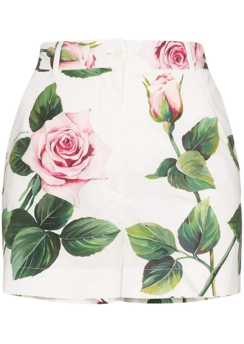 Dolce & Gabbana rose print high-rise shorts
