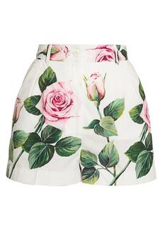 Dolce & Gabbana Rose-Print Poplin Shorts