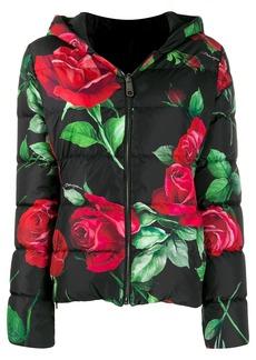 Dolce & Gabbana rose print puffer jacket