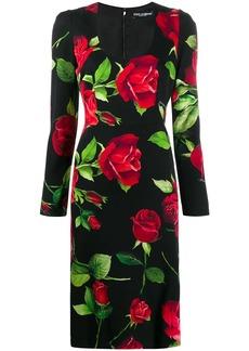 Dolce & Gabbana rose print sheat dress