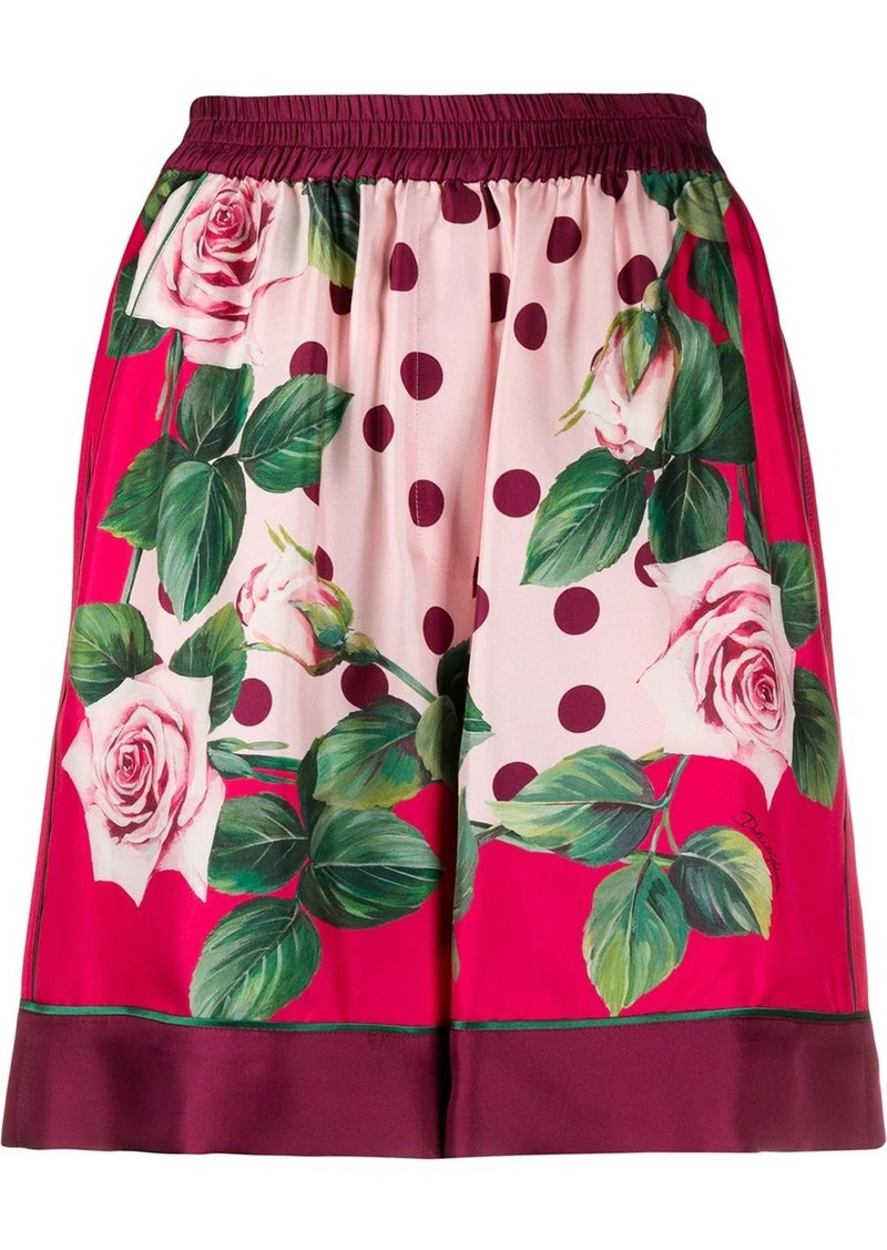 Dolce & Gabbana rose-print shorts