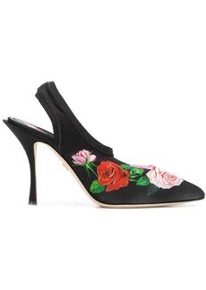 Dolce & Gabbana rose-print slingback mules