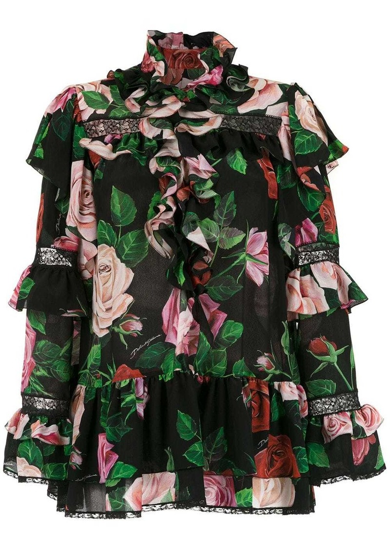 Dolce & Gabbana rose printed blouse