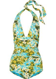 Dolce & Gabbana Ruched Floral-print Halterneck Swimsuit