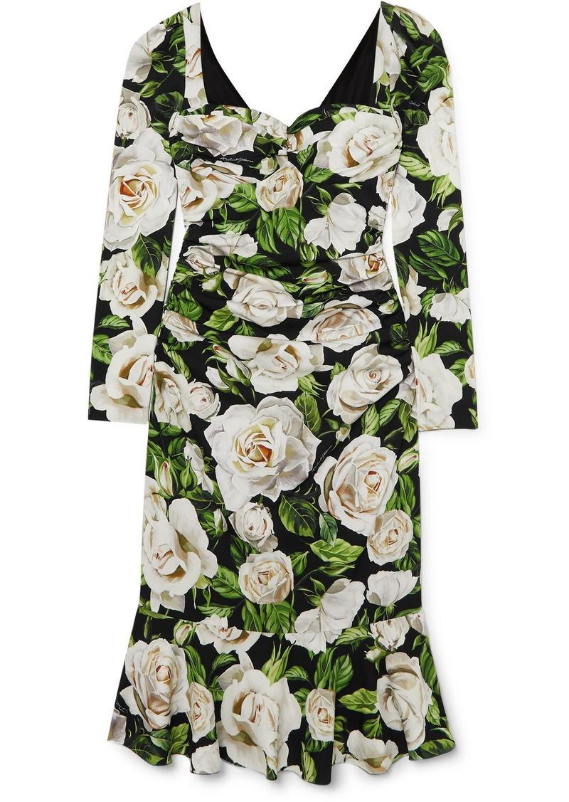 Dolce & Gabbana Ruched Floral-print Silk-blend Crepe De Chine Midi Dress