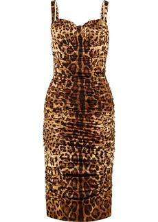 e68d8aad397b Dolce & Gabbana Ruched Leopard-print Stretch-silk Satin Midi Dress