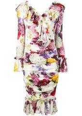 Dolce & Gabbana ruffle floral charmeuse dress