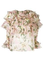 Dolce & Gabbana ruffle lily print blouse