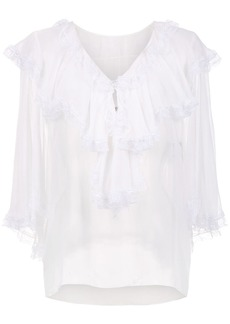 Dolce & Gabbana ruffle trimmed sheer blouse
