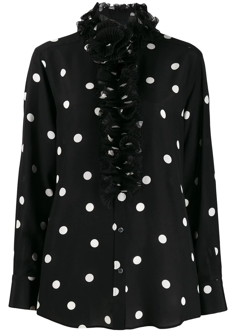 Dolce & Gabbana ruffled collar polka dot blouse